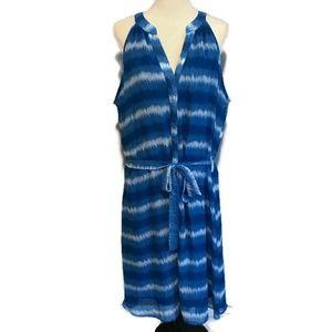 Ashley Stewart Blue Tie Dye V-Neck Dress